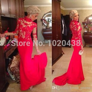 Robe De Soiree Free Shipping Highneck Vestido De Festa Formal Gown Custom Chiffon Red Lace Long Sleeve Party Evening Dress 2015