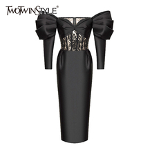 TWOTWINSTYLE Black Patchwork Lace Dress For Women Slash Neck Puff Long Sleeve High Waist