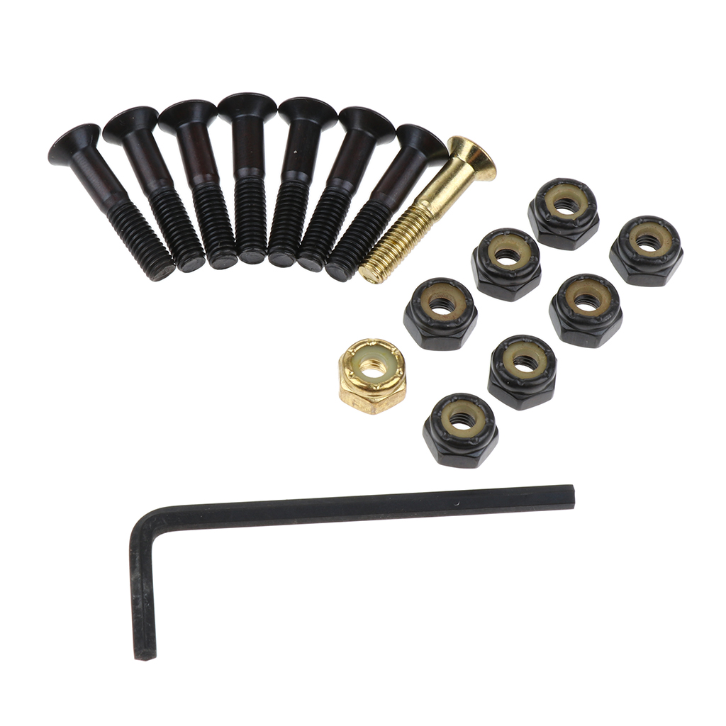 8pcs Replacement Skateboard Truck Hardware Set Mounting Screws Nuts Wrench Steel Flat Head Screws And Lock Nuts