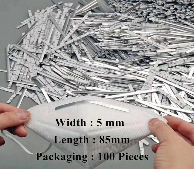100pc 5mm Dedicated Nose Bridge Clip Adjustable Elastic Cord For N95 Face Mask Aluminum Lanyard Mouth Mask Strap DIY Rubber Band 5