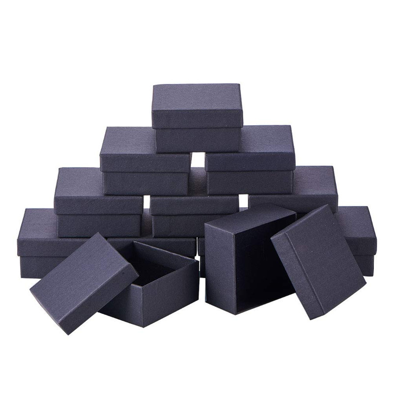 12 Pcs 7x7x3.5cm Black Cardboard Jewelry Set Square Boxes For Ring Necklace Boxes And Packaging Birthday Christmas Gift Box F70