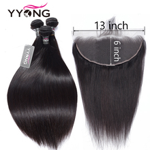 YYong 13x6 Lace Frontal With Bundles Peruvian Straight Hair Non Remy Ear To
