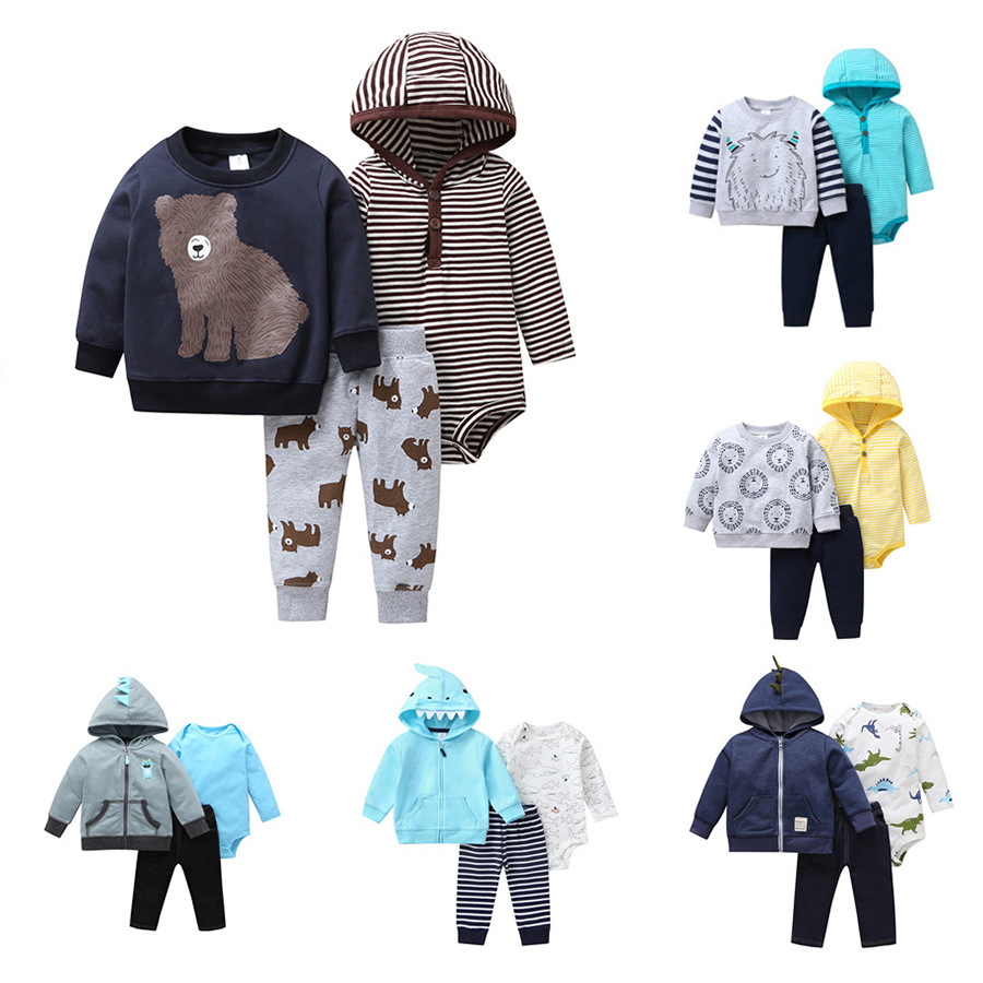 2020 Spring And Autumn 3pcs New Born Baby Boys And Girls Sets Mother Baby Clothes Cotton Warm Clothing For Newborn Kids Overalls
