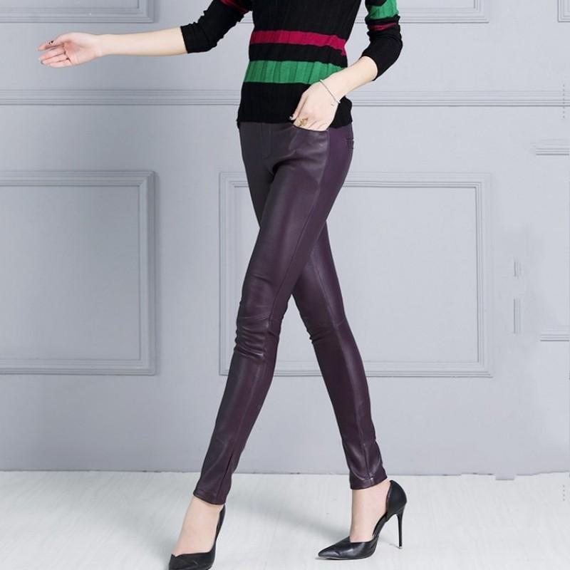 Women Sexy Strechy Slim Fit Luxury Sheepksin Genuine Leather Pencil Pants Elastic Waist Natural Leather Trousers OL Skinny Pants