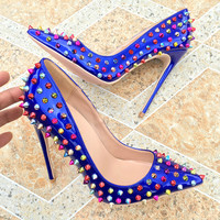 12cm Stiletto Heels Rivets Pointed Toe Shoes Multi Color Studded Wedding Shoes Spikes Dress Pumps