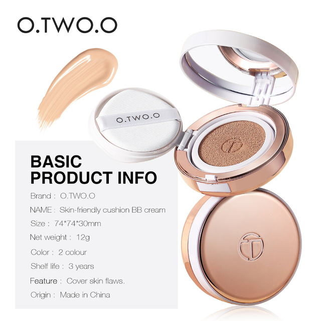 O.TWO.O Air Cushion BB Cream CC Cream Moisturizing Concealer Bright Makeup Base Long Lasting Foundation Cream With Makeup Puff 6