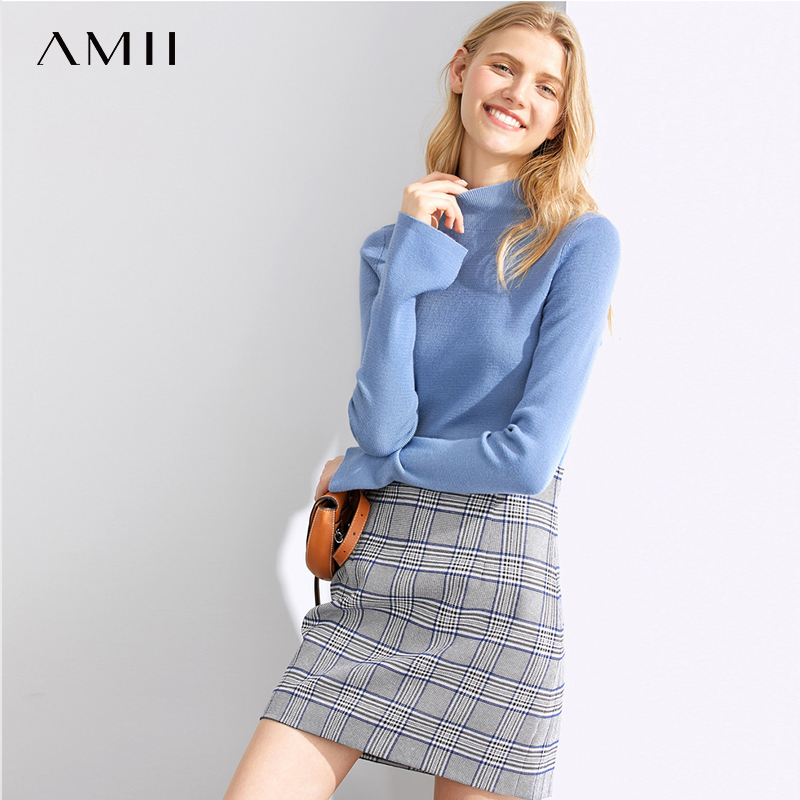 Amii Basic Solid Soft Turtleneck Sweater Women's Spring New Semi-High Neck Slim Long Sleeve Backing Shirt Tops 11960096
