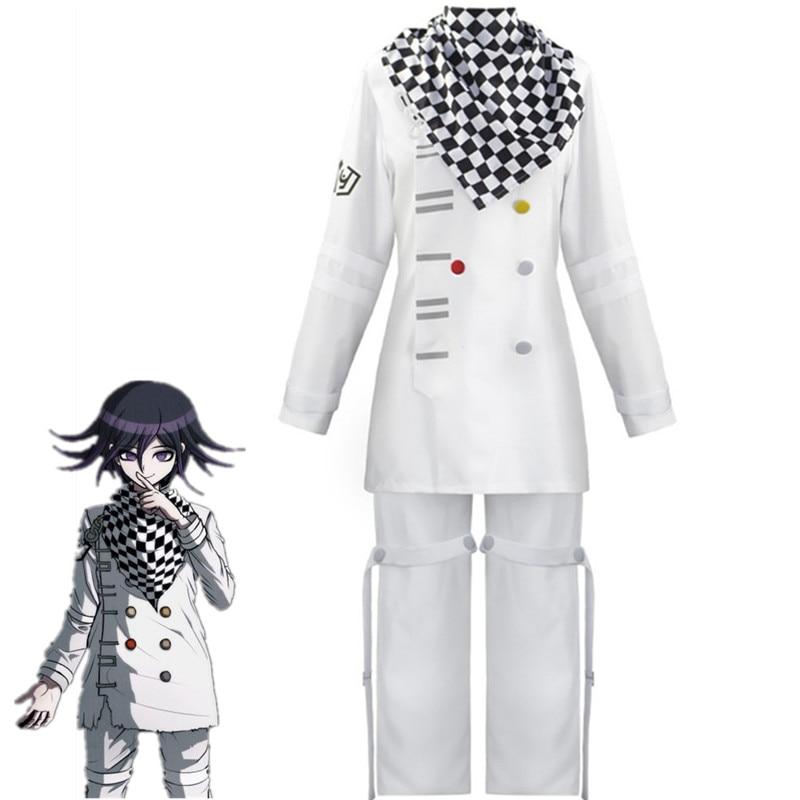 Danganronpa V3 Kokichi Oma President Cosplay Costume Full Set Zentai Scarf Cloak Uniforms Anime Clothes Figure Disfraz Halloween