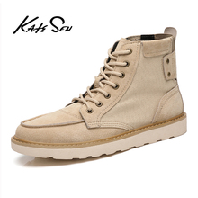 KATESEN Men boots riding boots man martins boots Cow suede canvas causal shoes lace-up autumn male ankle tooling boots mens riding ankle boots canvas fashion autumn winter shoes two wear talent black gray khaki casual lace up male leisure boots