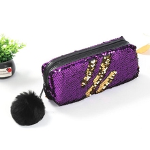 Reversible Sequin Pencil Case for Girls School Supply Hairball Bag Super Big Magic Box Pencilcase Stationery Gifts