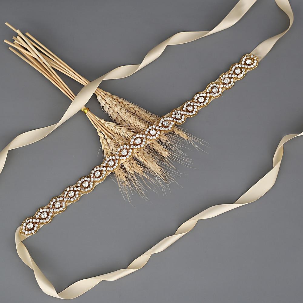 TRiXY S28-G Golden Diamond Belt Ribbon Sash with Rhinestones Belts for Formal Dress Diamond Belt Bridal Belt Bridal Wedding Sash