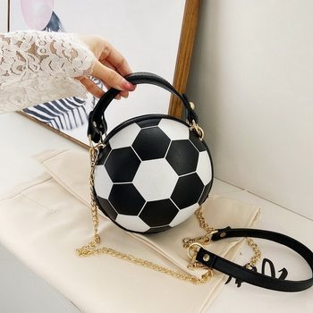 Fashion Basketball Round Shaped Shoulder Bags for Women Acrylic Chain Casual Small Totes PU Leather Messenger Crossbody Handbags image