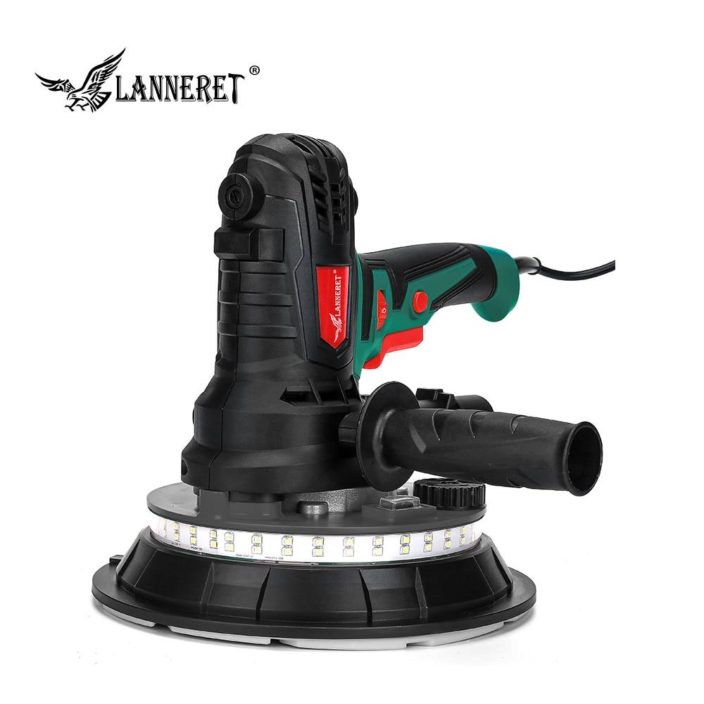 LANNERET 850W 180mm 1280W 225mm Dry Wall Sander Handheld Variable Speed Vacuum Drywall Disc Sander LED