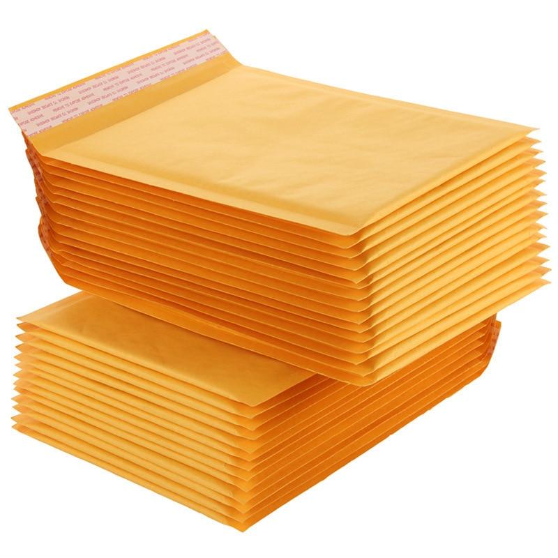 10 PCS/lot 16*20cm Moderately Packed Bubble Envelope Yellow Kraft Paper Envelope Bag Express Bag Shockproof Bubble Bag Wholesale