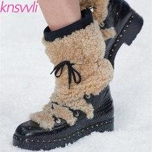 Новые меховые полусапожки; женские зимние ботинки на шнуровке; теплые зимние ботинки на толстой подошве; женская обувь с украшением в виде цепочки; Zapatos De Mujer