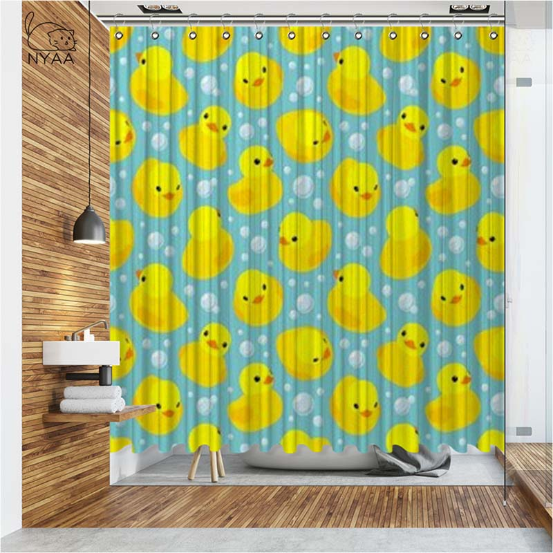 vixm 3d yellow cute rubber duck shower curtains waterproof polyester fabric bathroom curtains for home decor