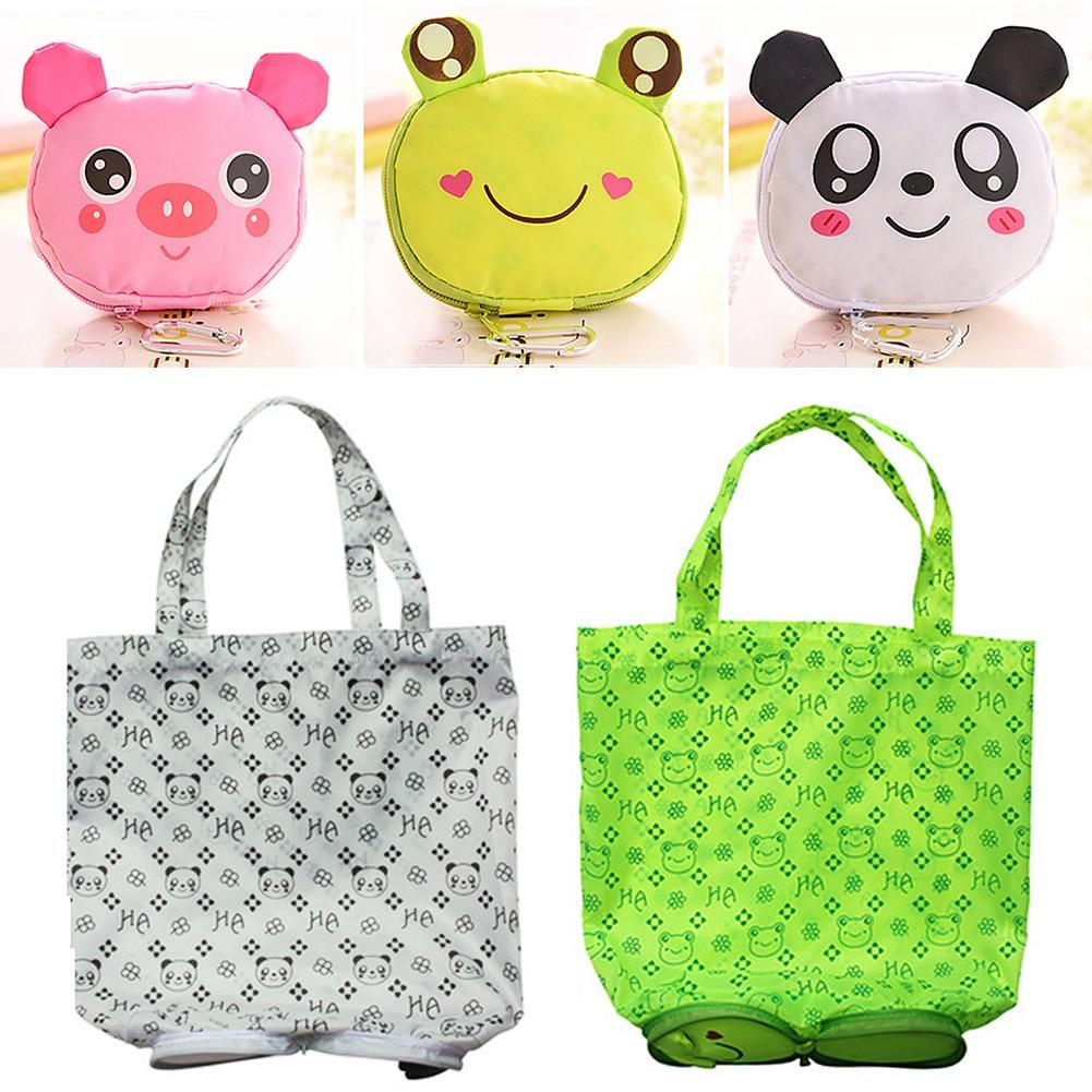 Cute Animal Shape Folding Shopping Bag Eco Friendly Ladies Gift Foldable Reusable Tote Bag Portable Travel Shoulder Bag#730