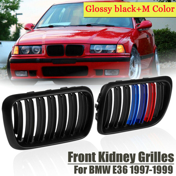 Car Styling 51138195152 Gloss Black &M-Color Double line Front Kidney Grilles Car Auto Racing Grills For BMW E36 1997 1998 1999