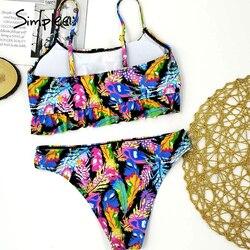Simplee tropikalne liście drukuj kobieta strój kąpielowy oddzielne dwuczęściowy Bandeau bikini 2020 nowa z falbankami stroje kąpielowe kobiety garnitur biquinis 4