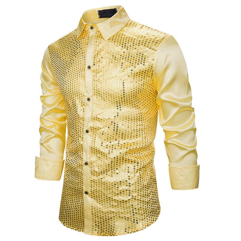 זהב נצנצים נצנצים חולצות גברים 2019 אופנה חדשה מועדון לילה משי סאטן Camisa Masculina Slim Fit שלב דיסקו תחתונית זינגר homme