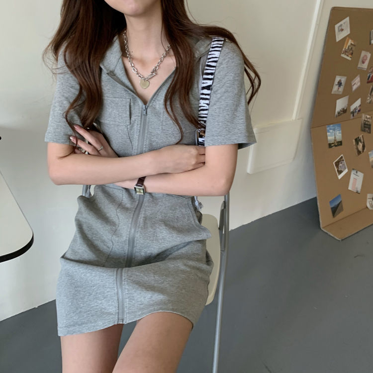 Women's casual hooded dress 2021 Korean version of the new long sleeved high waist slim slimming waist dress ins fashion trend 7