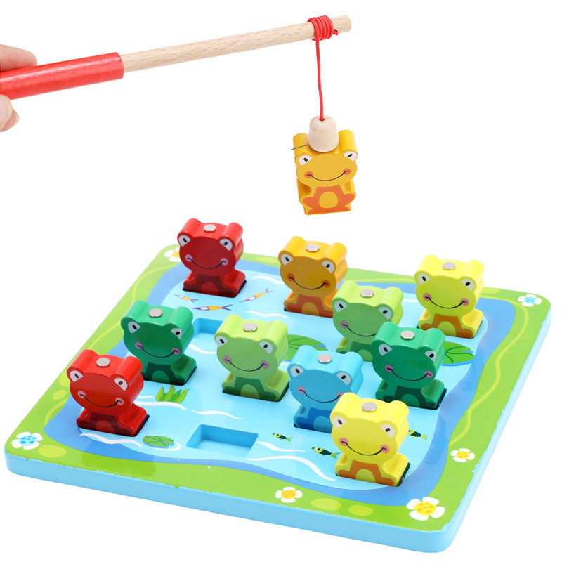 Baby Toys Magnetic Fishing Educational Fishing game Wooden Toys frog fishing puzzle building blocks Kids Gifts