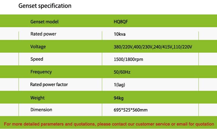 China fez uso doméstico mini gasolina 8kw 10 kva gerador