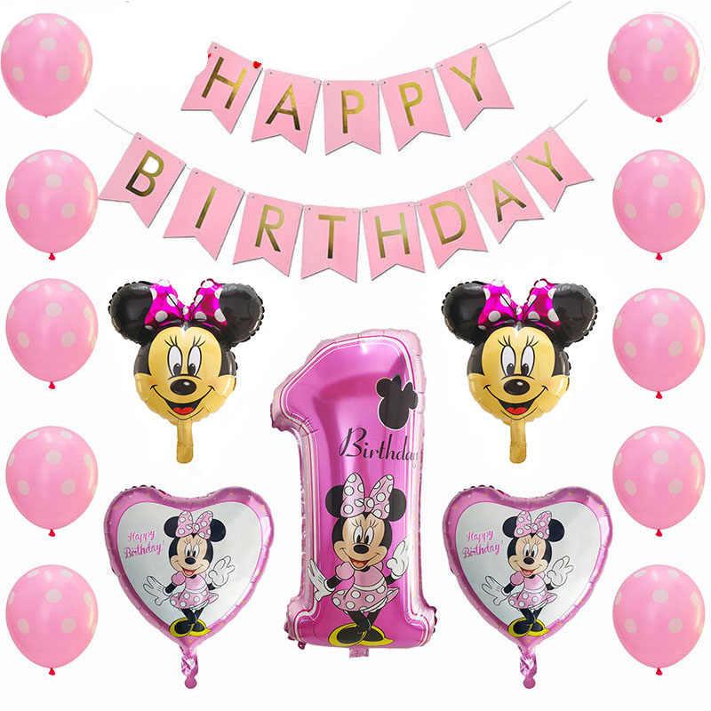 Disney Minnie Mouse Balloon Set Kids Birthday Party Balloons with Ribbon Helium