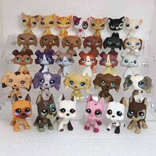 Random bonito pet shop animais lpstoys permanente cabelo curto gato dachshund collie spaniel great dane figura de ação brinquedos para crianças