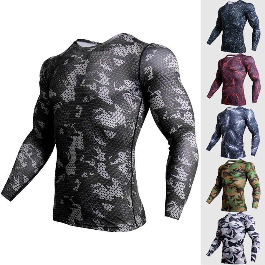 Men's camouflage T-shirt gym workout fitness T-shirt long-sleeved sports shirt training running shirt compression sports T-shirt