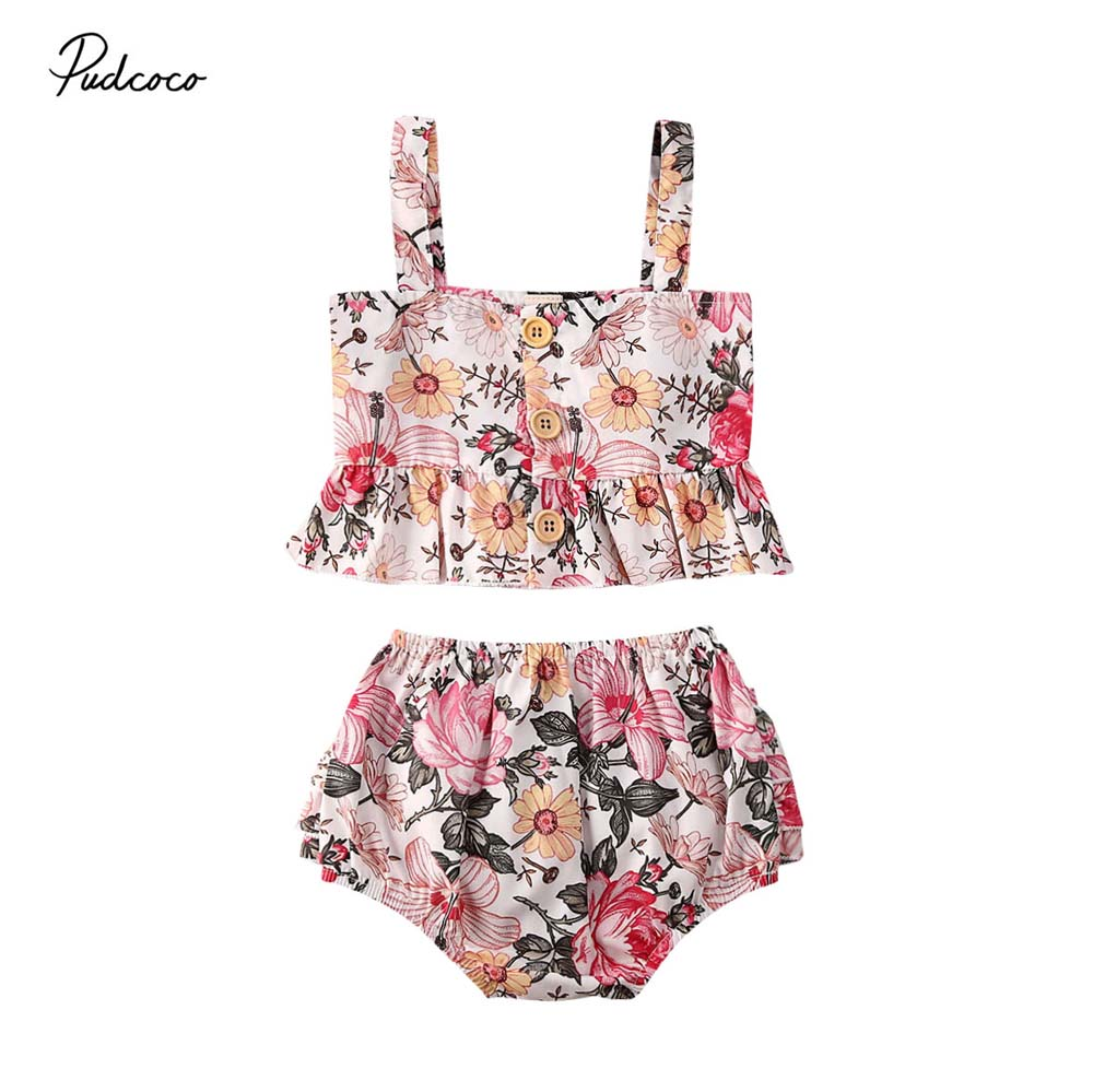 2020 Baby Summer Clothing Infant Kids 0-4Y Baby Girl Floral 2Pcs Set Crop Vest Tops Ruffled Bottoms Colorful Clothes Outfits