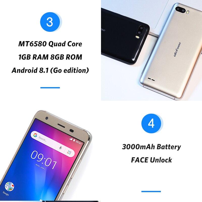 Ulefone S1 Мобильный телефон Android 8,1 5,5 дюймов 18:9 MTK6580 четырехъядерный 1 ГБ ОЗУ 8 Гб ПЗУ 8МП + 5Мп задняя двойная камера 3g смартфон - 4