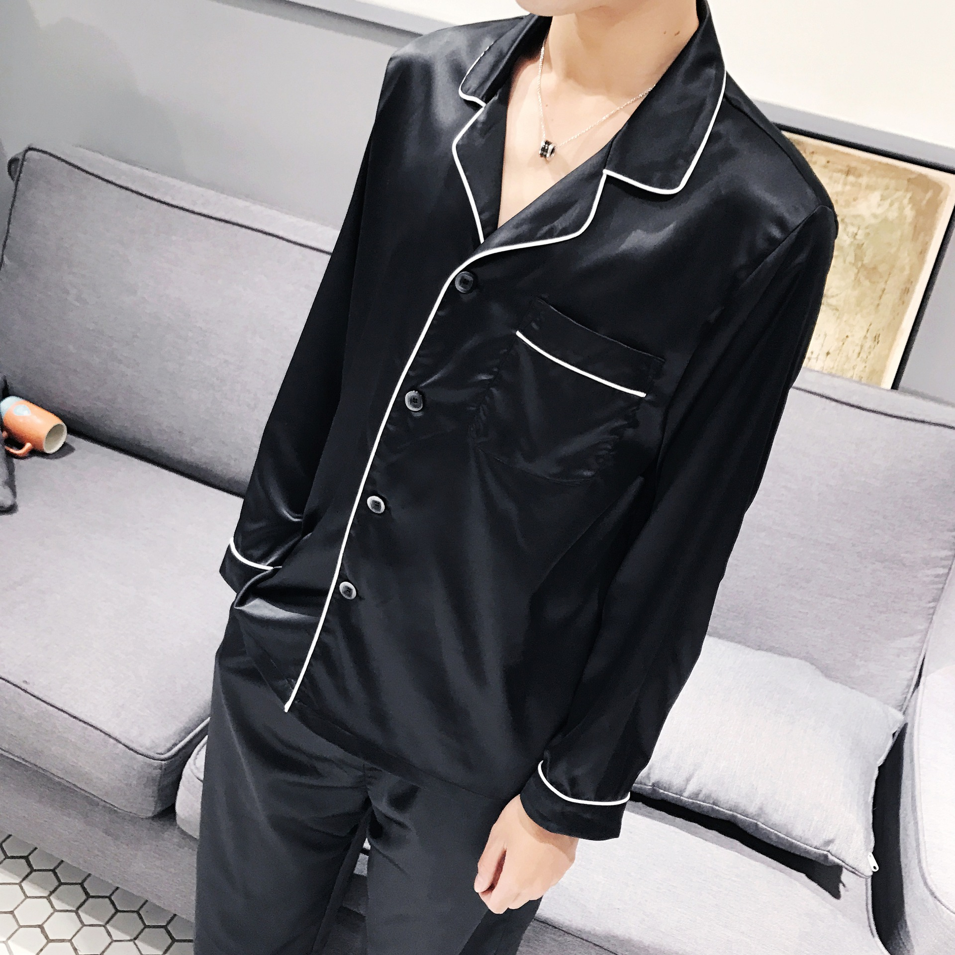 Summer Pajamas Suit Men Summer Home Imitated Silk Fabric Thin Household Spring And Autumn Couples Clothing