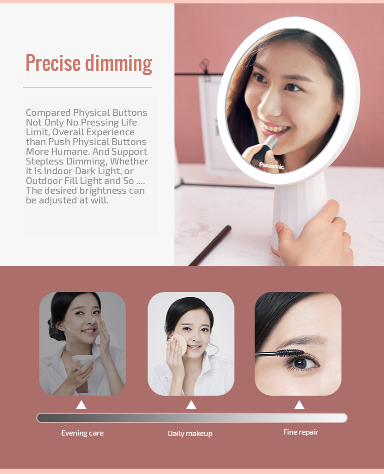 Panasonic  LED Mirror Makeup Mirror with Led Light Vanity Mirrors Rotating Cosmetic Miroir 5X Magnifying Mirrors Light Espejo 4