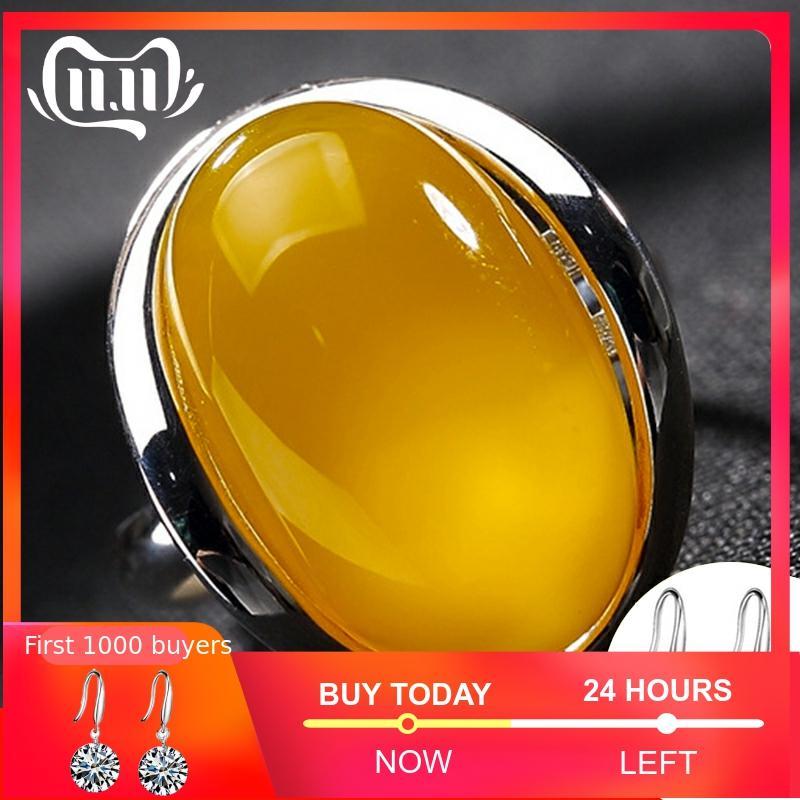 NOT FAKE Israel Amber S925  Israel Ring 925 Sterling Silver Upper I Love Mom Lithuania Retro Citrine Amber C Chrysoberyl