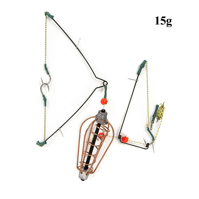 0 15g/20g/25g/30g Fishing Bait Cage Fish Bait Lure Copper Trap Basket Feeder Holder With Hooks Fishing Tackle Accessories