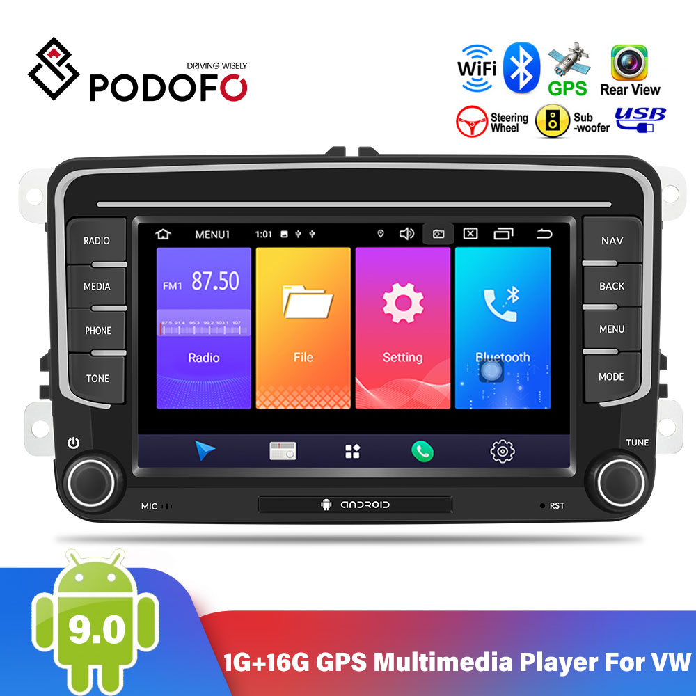 Podofo 2 Din Android 9.0 Car Radio Stereo 7'' GPS Multimedia Player For VW Passat Golf MK5 6 Jetta T5 EOS POLO Touran Seat Shara image