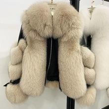 Maylofuer kobiety prawdziwe futro z lisów prawdziwa skóra owcza kurtka z długim rękawem 100 naturalne futro z lisa płaszcze z odpinanym kołnierzem tanie tanio milyfuer CN (pochodzenie) Zima Prawdziwej skóry High Street Grube ciepłe futro Osób w wieku 18-35 lat Z fox fur collar
