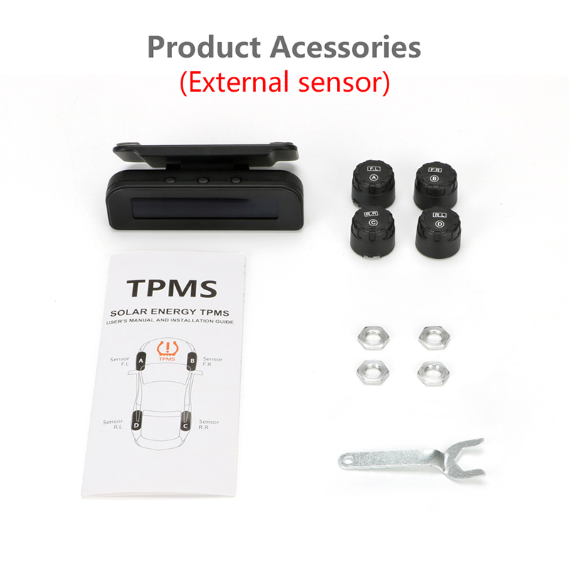 Image 5 - Jansite TPMS Car Tire Pressure Alarm Monitor System Real time Display Attached to glass wireless Solar power tpms with 4 sensors-in Tire Pressure Alarm from Automobiles & Motorcycles