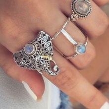 Anillo de aleación con forma de elefante para mujer, conjunto de 3 anillos, joyería, Nuevos Bohemios, Vintage, 2021