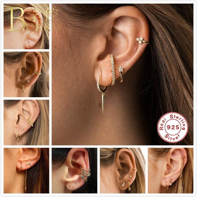 BOAKO Punk 925 Sterling Silver Earrings For Women Small Hoop Gothic Girl Ear Bone Hoops Mini aretes Jewelry Z5