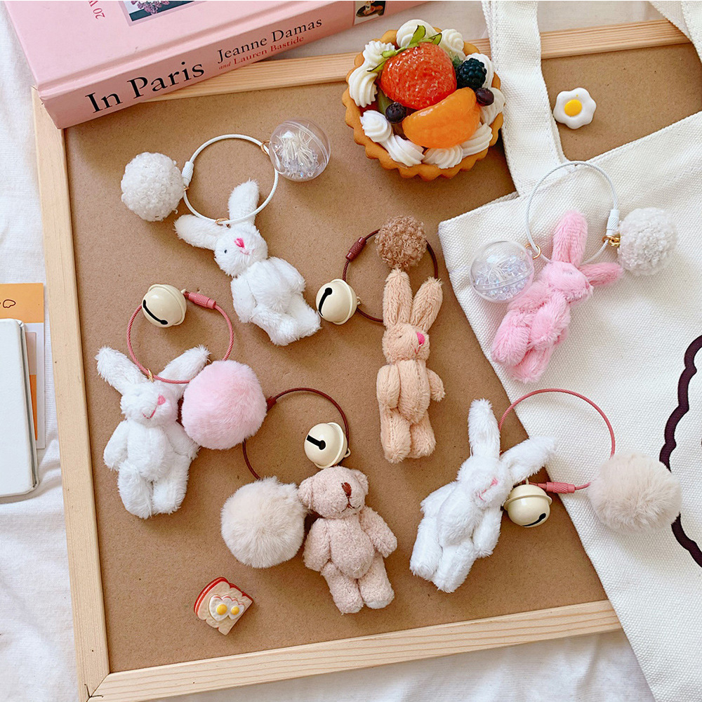 Girl Cute Bell Pendant Plush Doll Bear Rabbit Bag Accessories Plush Keychain Toy For Children Girl Birthday Gifts