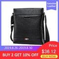 Мужская черная сумка-кроссбоди BISON DENIM, черная повседневная деловая сумка-почтальонка из натуральной кожи, сумка для <font><b>iPad</b></font>, 2019