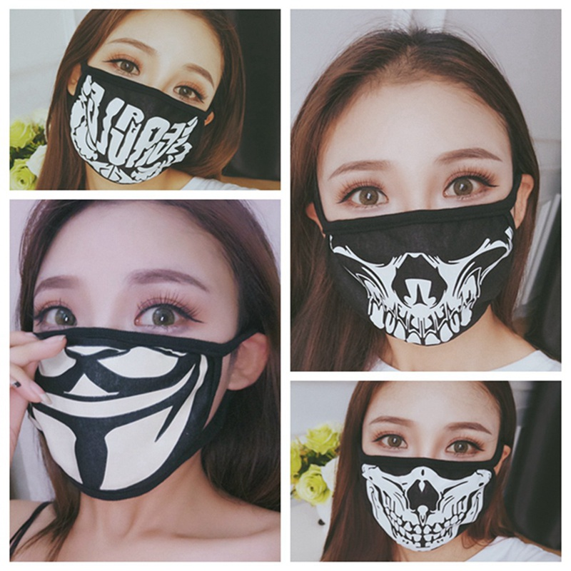 Black Face Mask  Men Women Expression Skull Anti Dust Teeth Mouth Mask Fashion Cotton Masks