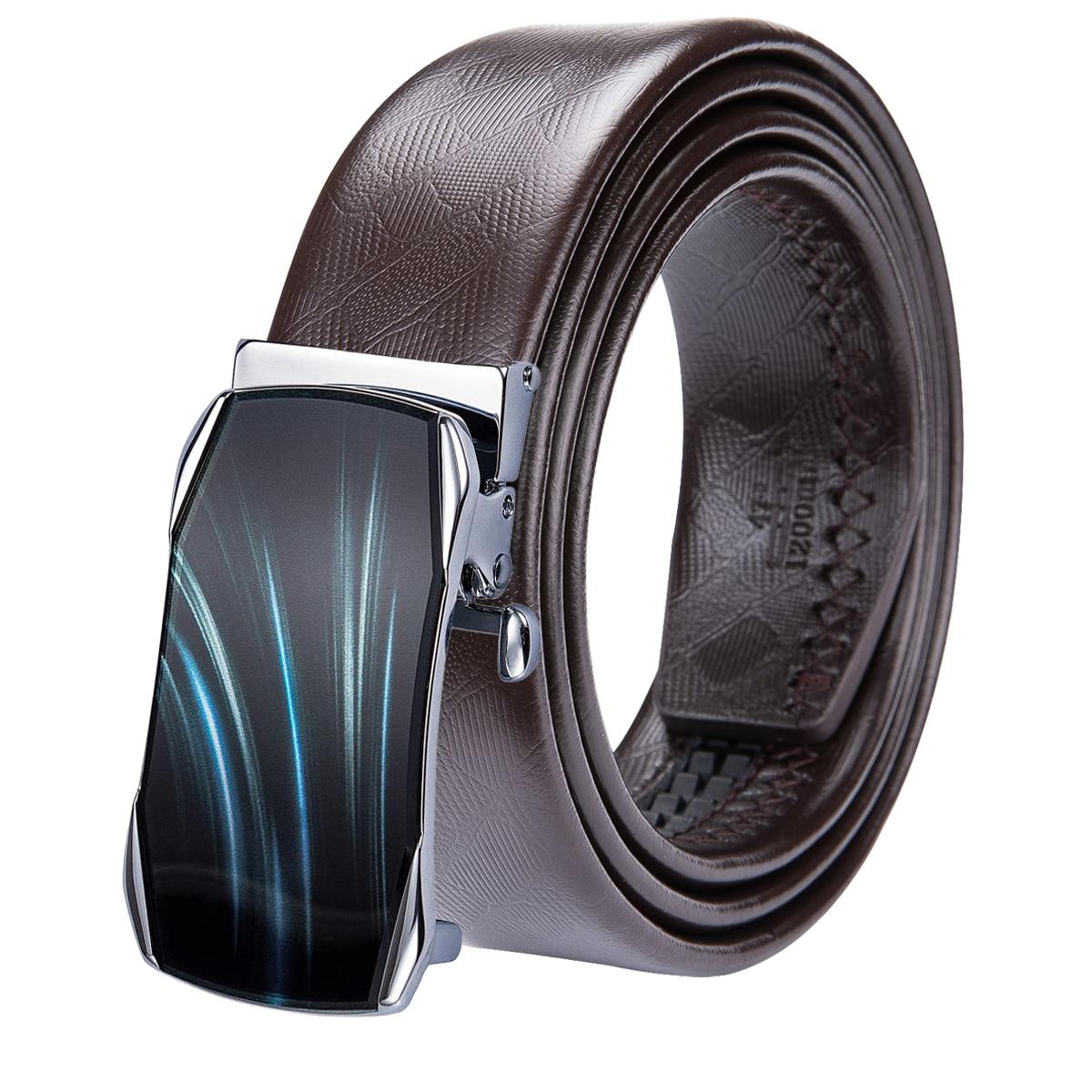 Men Cowhide Business Suit Trouser Genuine Leather Belt Automatic Metal Buckle