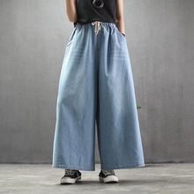 2019 Spring Summer New Woman Plus Size Denim Wide Leg Pants Solid Elastic High Waist Casual Loose Jeans Pants Pocket Trousers summer national style embroidered vintage denim wide leg pants elastic waist woman casual loose pocket jeans ankle length pants