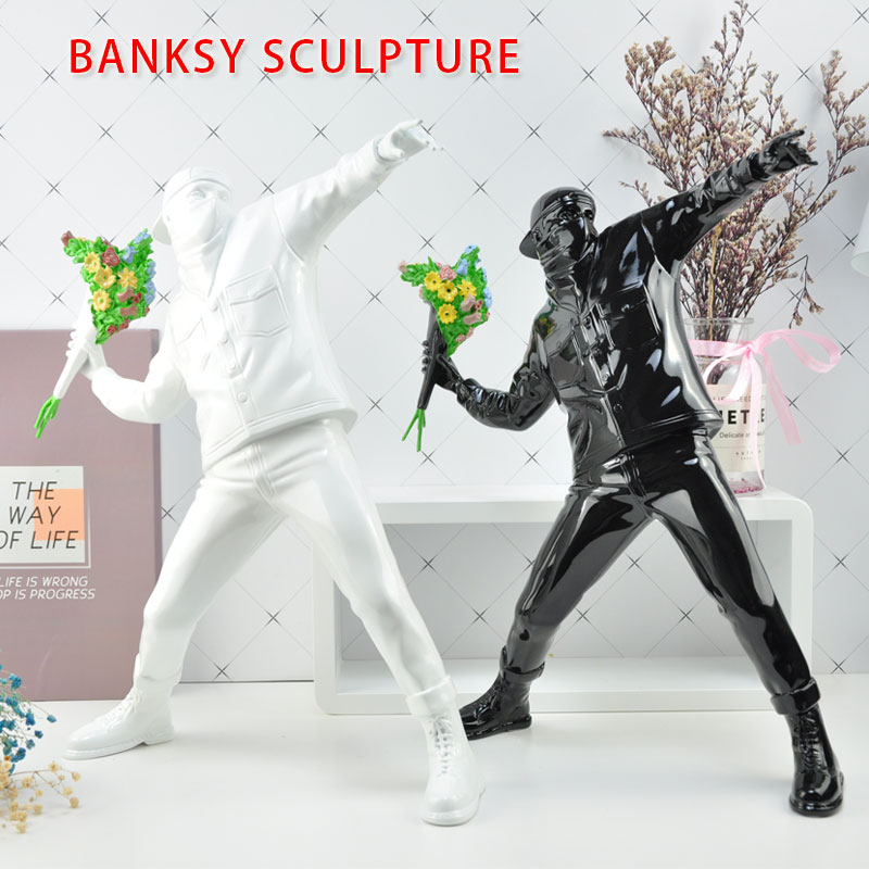 Resin Figurine England Street Art  Banksy Flower Sculpture Bomber Polystone Figure Collectible Art Toy