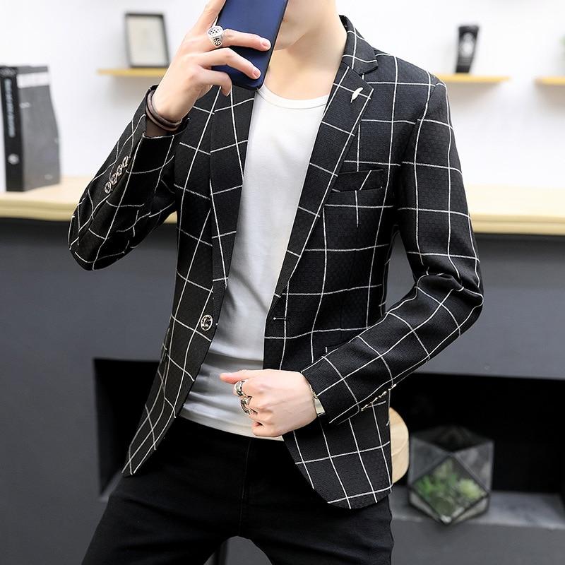 19 Spring And Autumn Men Casual Fashion Korean-style Slim Fit Business Suit Men's Work Clothes Plaid Suit MEN'S Outerwear
