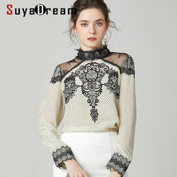 SuyaDream Women Dots Printed Blouses 100% Silk Crepe Long Sleeved Lace Stand collar Casual Blouse Shirt