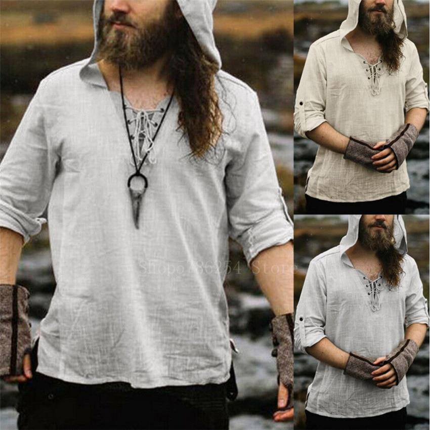 Man Retro Medieval Pirate Viking Cosplay Shirt Vintage Casual Male Hooded Knight  Linen Renaissance Nordic Tunic Bandage T-shirt